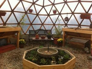 Interior del invernadero Geodésico